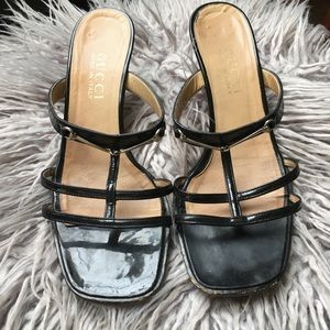 Vintage GUCCI black strappy kitten heels size 7B